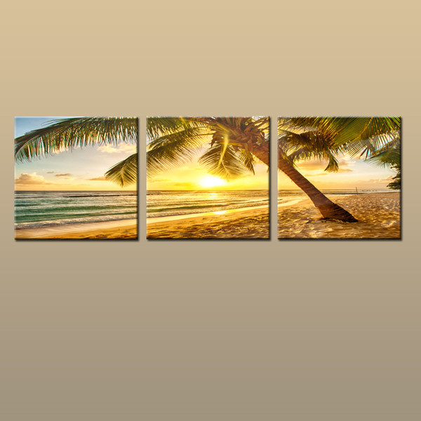 Framed/Unframed Large Contemporary Wall Art Print On Canvas Hawaii Palm Tree Beach Sunset Glow Landscape 3 pieces Picture Home Decor abc240