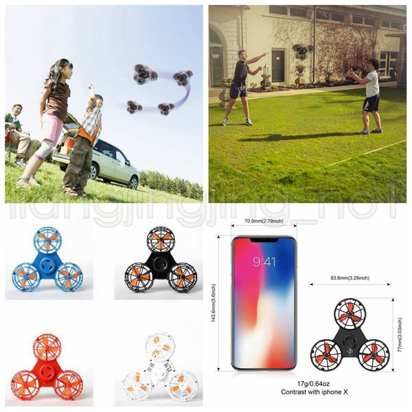 Flying Fidget Spinner Mini Rechargeable Automatic Rotatable Flying Finger Spinner Anxiety Stress Release Toy Spinning Top Party Favor AAA641