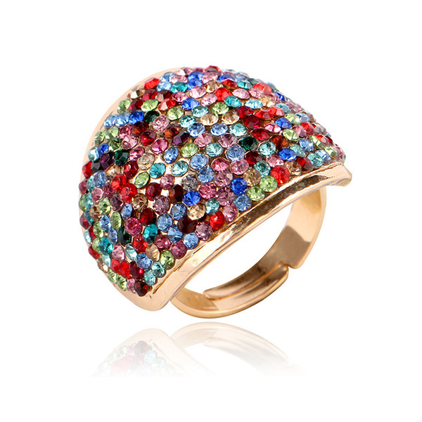 Colorful Fashional Women Rings Rhinestone Crystal Band Ring Alloy Cluster Ring For wedding Engagement Propose Adjustable Diameter Ring