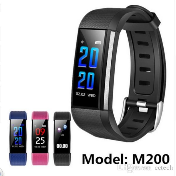 New Year 2018 Color LCD M200 Smart Bracelets Sports Band Heart Rate / Blood Pressure/ Blood Oxygen Monitor Watches Waterproof Wristband