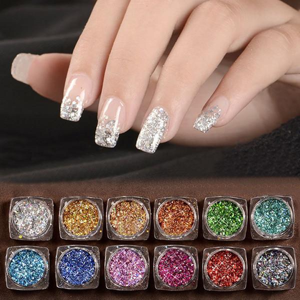 NEW Nail Glitter 12PCs Mix Color Glitter Dust Powder Set for Nail Art Acrylic Tips diamond Sequins Decoration