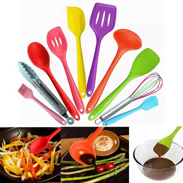 10 Parça Set Silikon Mutfak Pişirme Gereçleri Hijyenik Katı Kaplama Tencere Setleri Ile Set AAA322