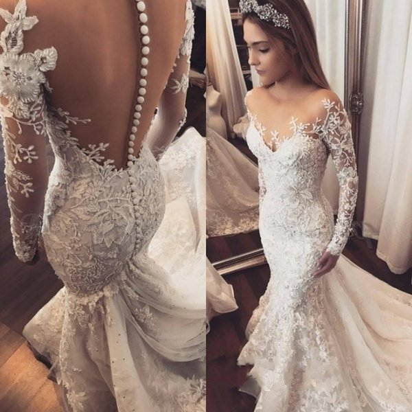 top popular Charming Jewel Neck Lace Mermaid Wedding Dresses Long Sleeve Button Back Applique Bridal Dresses Plus Size Tulle Middle East Wedding Gowns 2019