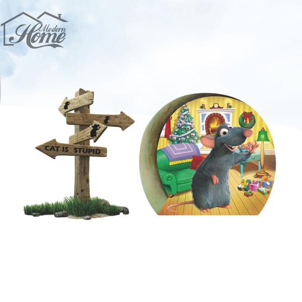 3D Komik Fare Delik Kedi Aptal Duvar Sticker Ev Çocuk Odaları Için Karikatür Duvar Çıkartmaları Çıkarılabilir Noel Dekorasyon Ev ...