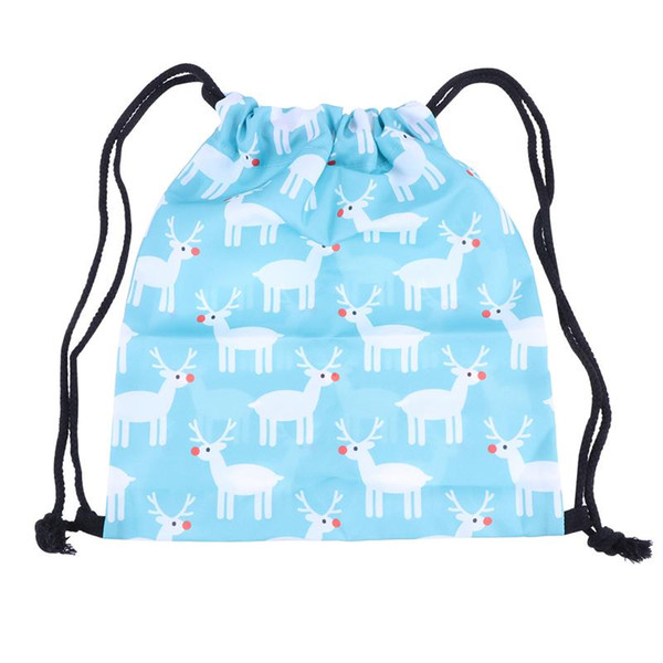Lovely 3D Digital Printing Cute Drawstring Bags Drawstring Backpack Christmas Deer Backpacks For Women Girls Female Ladies
