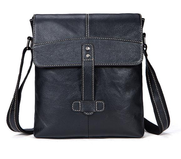 2018 new Genuine Leather men's bag casual men's Messenger bag the first layer of cow leather Messenger vertical shoulder