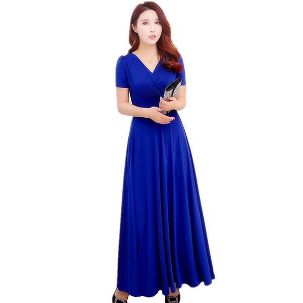 Mingjiebihuo Fashion womens dress new arrival summer OL Office temperament Plus  size short-sleeve slim V-neck simple long dress ed6de5d1cee0