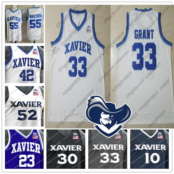 NCAA Xavier Musketeers #33 Brian Grant 23 Byron Larkin 30 David West 42 Tyrone Hill College Basketball white gray blue black Jersey S-4XL