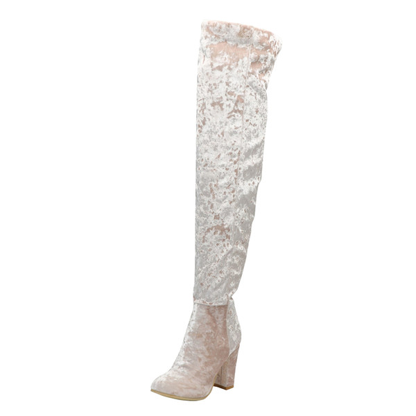 Kolnoo Womens Handmade High Heel Boots Snow-Flake Style Over Knee Booties Party Sexy Winter Thigh-high Boots Fashion Roman Shoes N044