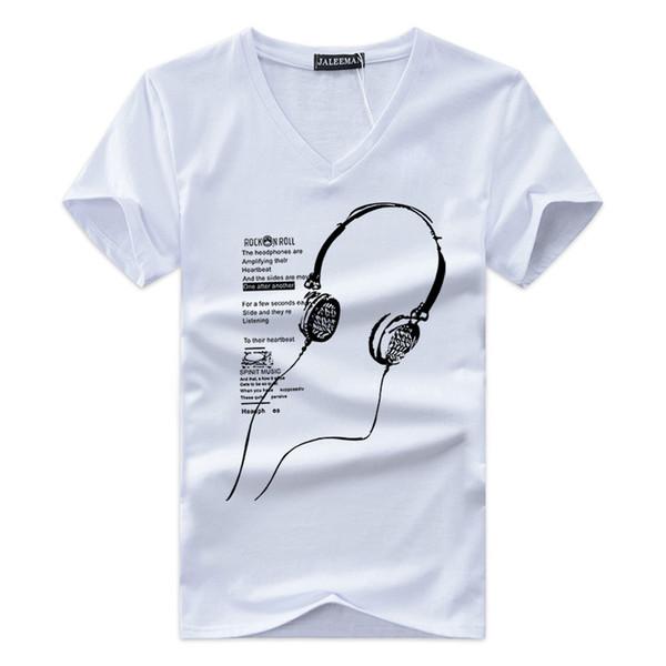 2018 New Men's T-shirt V Collar Printing Short-sleeved Chicken Heart Collar Bottom Shirt Foreign Trade Big Yard Half Sleeve-long