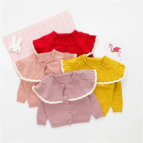 DFXD Newborn Baby Girls Sweaters Soild Cotton Long Sleeve Kids Cardigan Knitwear Winter Little Baby Sweater Infant Sweaters
