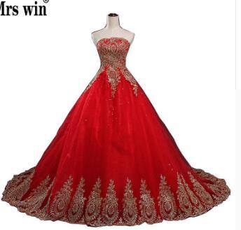 2018 New Ball Gown Lace Tulle Red Wedding Dress with tail Chinese Pattern Style Cheap China Embroidery Bridal Gown