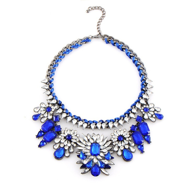 2018 Fashion Necklace Shourouk Chain Chunky Statement Necklace & Pendant Wholesale Jewelry Blue Crystal Choker Necklace .