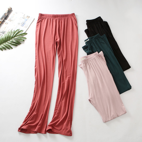 Women Sleep Bottoms Pants Spring Autumn Fashion Solid Pajama Pant Pyjamas  Female Loose Cotton Long Pants 6945dd8e5