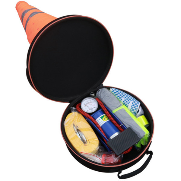 Car Safety Emergency Warning Sign Board Telescopic Tripod Roadblock Cones Inflator Air Pump Safety Emergency Tool Kit Three Foot Frame 10PCS