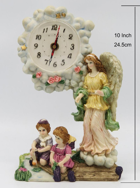 Hankroi Desk Clock Resin 9.5&10 Inches Height Table Clock Angle and Kids Hand Painted Living room Decoration