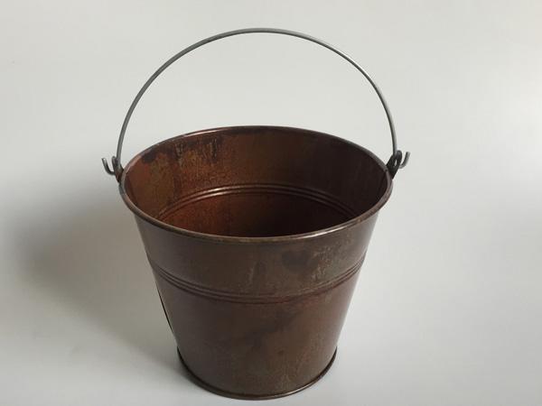 D14.5xH12cm Antique Brass Metal Buckets Flower Planter Iron Buckets Succulent Pots Farmhouse Pails Ornament SF-020