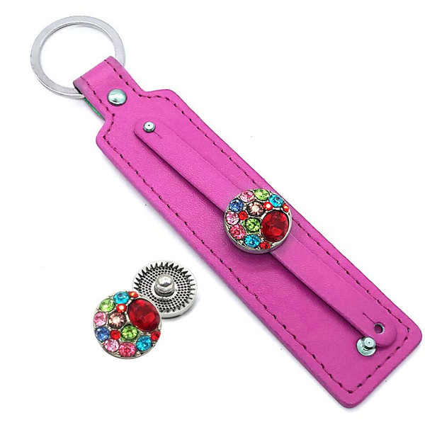 best selling Hot Sale 002 PU Leather fashion key chain fit 18mm Snap Button keychains Charm Jewelry For Women Men keyring Gift