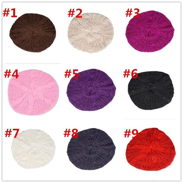 Lady women girl Winter Warm Knitted Crochet Slouch Baggy Beret Beanie Hat Cap 10 colors Free Shipping 250pcs
