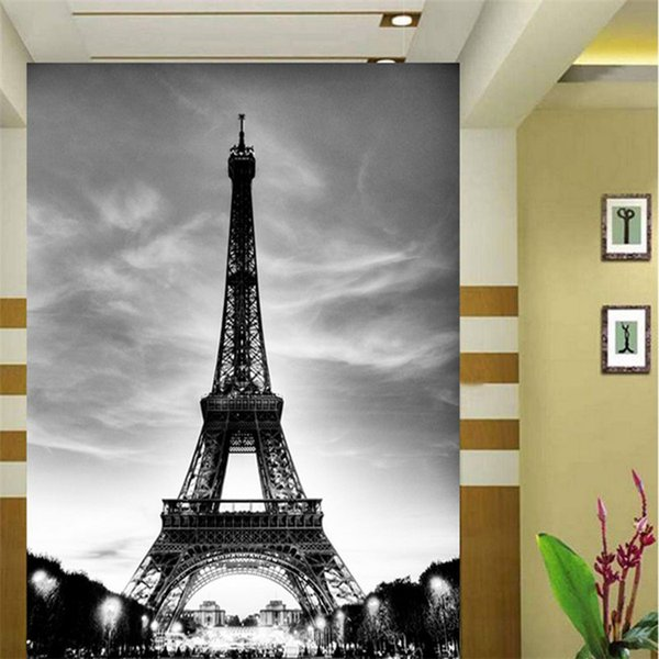 Compre Glitter Wallpaper Black White City Building Paris Eiffel Tower Paredes 3d Suelo Marble Vinilo Vintage Papel De Parede Pintado A 2413 Del