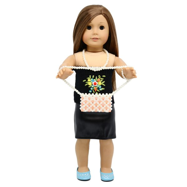 18 inches doll accessories pearl inclined shoulder Bag Fits for Girl Doll Clothes And Accessories doll bag