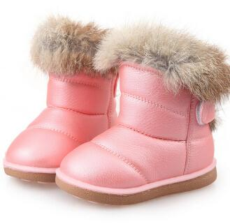 Insole Length 13.5-18.5 CM 1-7 Years Baby Rubber Children Winter Snow Boots Hot Thicken Plush Infant Shoe White