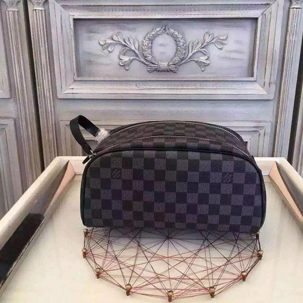 Damier canvas extra large wash bag N47526 hot sale cosmetic bag WALLETS OXIDIZED LEATHER CLUTCHES EVENING LONG CHAIN WALLETS COMPACT PURSE