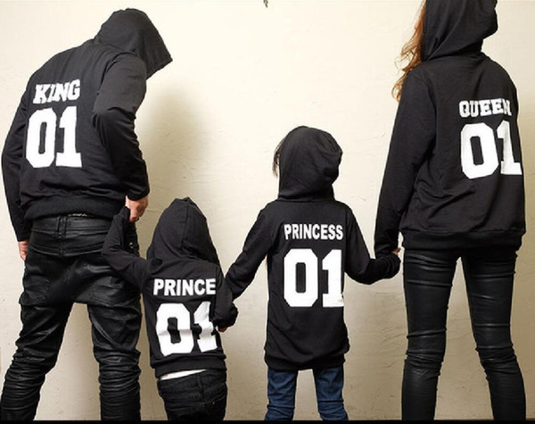 2017 Autumn Winter Couple Clothes Hoodies Princess Prince Print Sweatshirts Lover Pullover for Man and Women Child