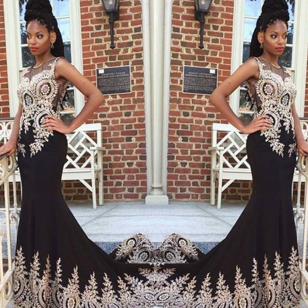 Discount African Long Evening Dresses Applique Sheer Neck Prom Gown Formal Party Dress For Black Girl Cheap vestidos de Festa 2019 aline