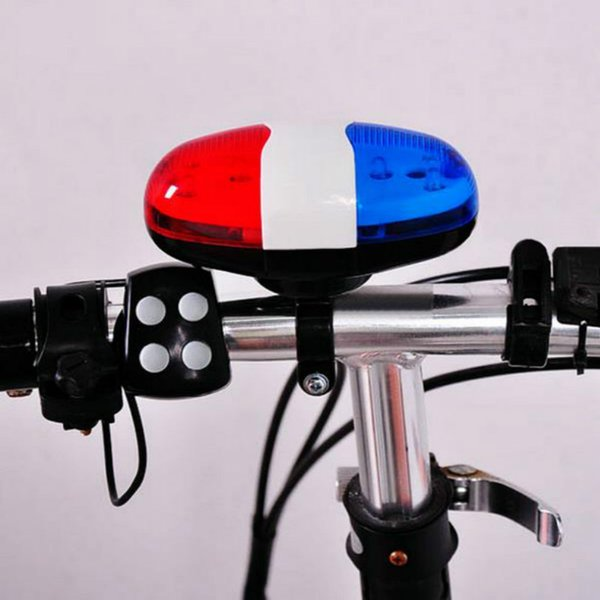 Bicycle Bell 6LED 4 Tone Bicycle Horn Bike Call LED Bike Light Electronic Siren Kids Accessories for Bike Scooter