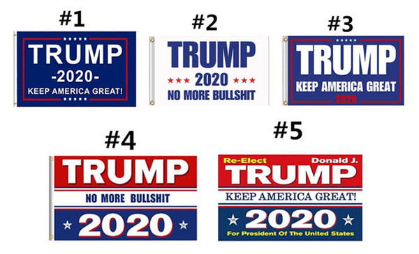 best selling Trump 2020 Flag Print Keep America Great Banner Decor for President USA American Election No More Bullshirt Donald Flag 90x150cm MMA726