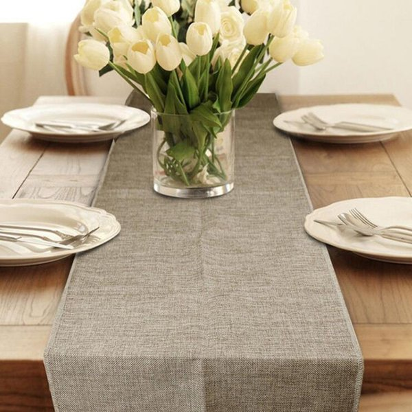Table Runner Burlap Natural Jute Imitated Linen Rustic Decor Wedding Table Decoration Accessories Khaki Gray Party Tablecloth