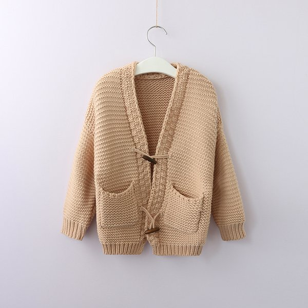 2018 INS Kids Knit Cardigan Sweaters Jacquard Horn button Pockets Boutique Girl clothing 100% cotton White Khaki Autumn Winter Wholesale