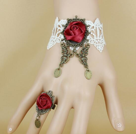 hot new Goth vintage butterfly white lace wine red rose lady's bracelet band ring sen fashion classic exquisite elegance