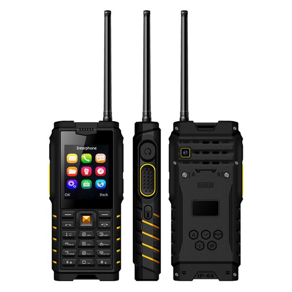 Unlocked IP68 Rugged Waterproof UHF Walkie Talkie mobile Cell phone Alps T2 2.4Inch 4500mAh dual sim card quad band GSM