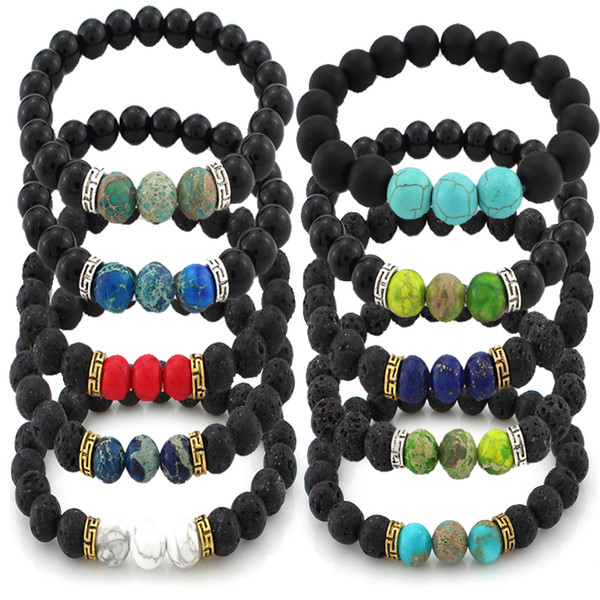 Charms 7 Chakra Bracelet Natural Lava Stone Healing Balance Beads Prayer Bangle Diffuser Bracelet Yoga Jewelry Gift 16 Styles B348S F