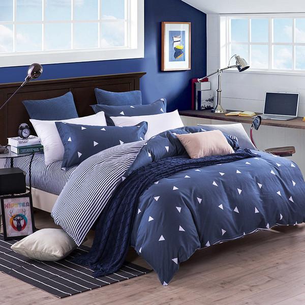 Geometric Monochrome Triangles Black Cotton Blend Canadian Full Duvet Comforter Cover 200cm X 200cm - UK Double