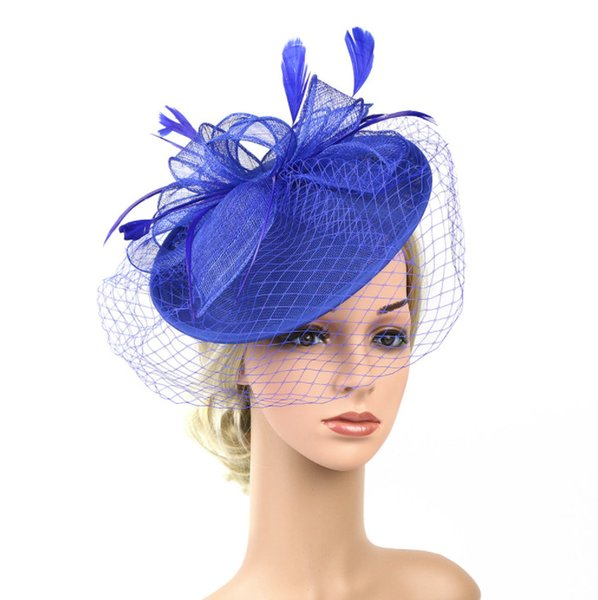 Bridal Net Feather Hats White Red Black Birdcage Net Wedding Hats Bridal Face Veils bride Hats Yellow