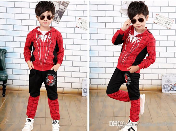 New Spider Man Children Clothing Sets Boys Spiderman Cosplay Sport Suit Kids Sets jacket + pants 2pcs. Boys Clothes