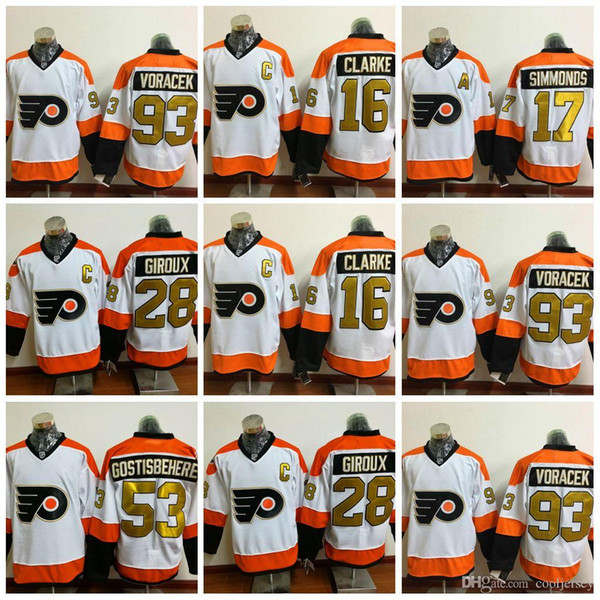 official photos e4302 dfbbb 2018 Philadelphia Flyers 50th Anniversary Jerseys Ice Hockey 28 Claude  Giroux Jersey 53 Shayne Gostisbehere 17 Wayne Simmonds 93 Jakub Voracek  From ...