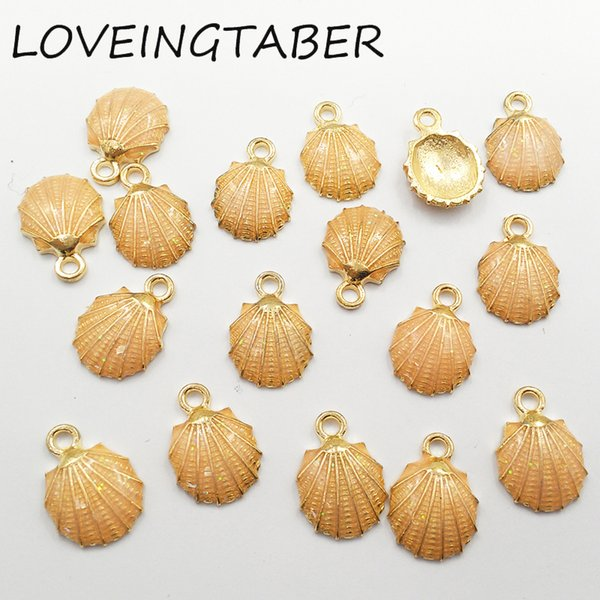 15mm * 13mm 30 teile / los Gold Farbe Muschel Transparent Glitter Emaille Kleine Charme Anhänger Schmuck Handgemachte DIY Zubehör