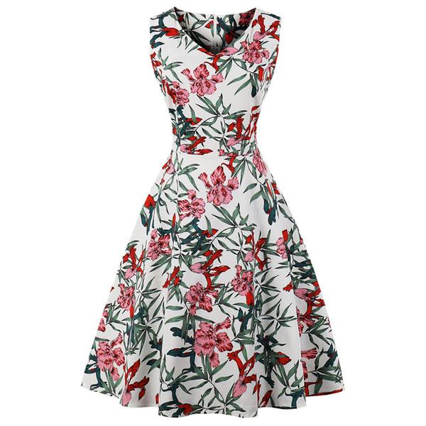 Compre Kenancy Tallas Grandes De Algodón De Verano Mujer Rockabilly Vestido Vintage Años 60 Audrey Hepburn Elegante Estilo De Fiesta Vestido Retro