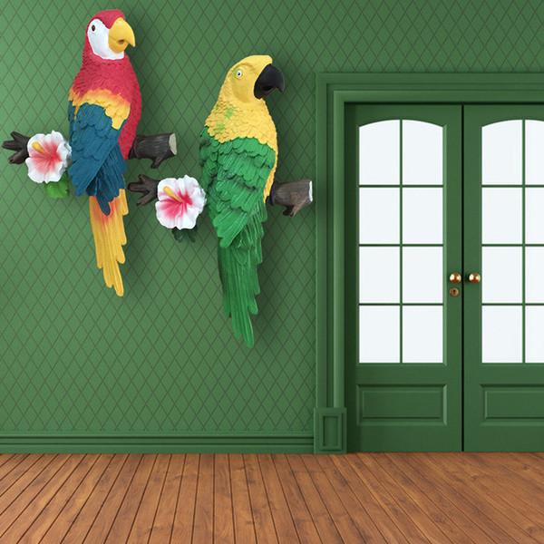 3D Parrot Artificial Parede Pendurado Fundo Sala de estar Quarto Resina Ornamento Artes Artesanato Presentes Mobiliário Doméstico Decoração 25xy bb