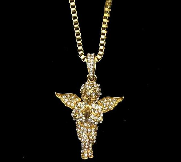 14K gold water diamond angel Jesus hip hop alloy pendant hip hop necklace