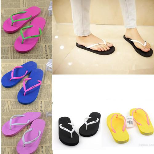 Girls love Pink Sandals Candy Colors Pink Letter Slippers Shoes Summer Beach Bathroom Casual Rubber Slides Flip Flop Sandals Multicolor