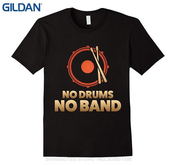 Оптовая скидка Мужская футболка с принтом Хлопковая футболка с коротким рукавом Рубашка барабанщика Нет барабанов Нет группы!