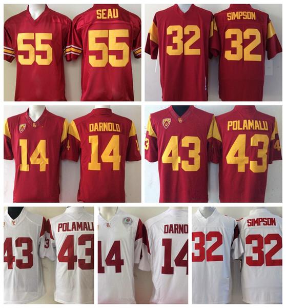 2019 2018 Usc Trojans 14 Sam Darnold College Football Jerseys 5 Bush 32 O J Simpson 55 Junior Seau 43 Troy Polamalu University Football Shirts From