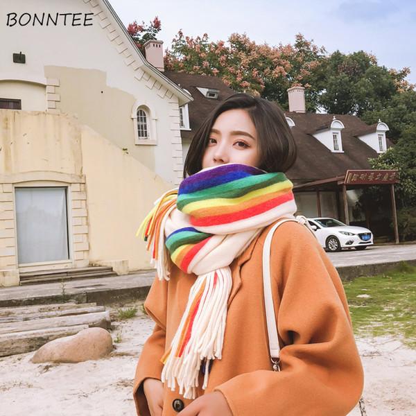 Eşarp Kadınlar Yüksek Kalite Gökkuşağı Kalın Zarif Püskül Uzun Eşarp Çift Taraflı Sıcak Sevimli Şal Kore Bayan Kış Atkı