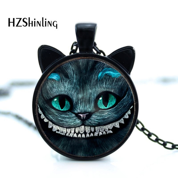 CN-0024 New Cheshire Cat Necklace Cat Ear Jewelry Smile Cat Pendant Glass Picture Pendant