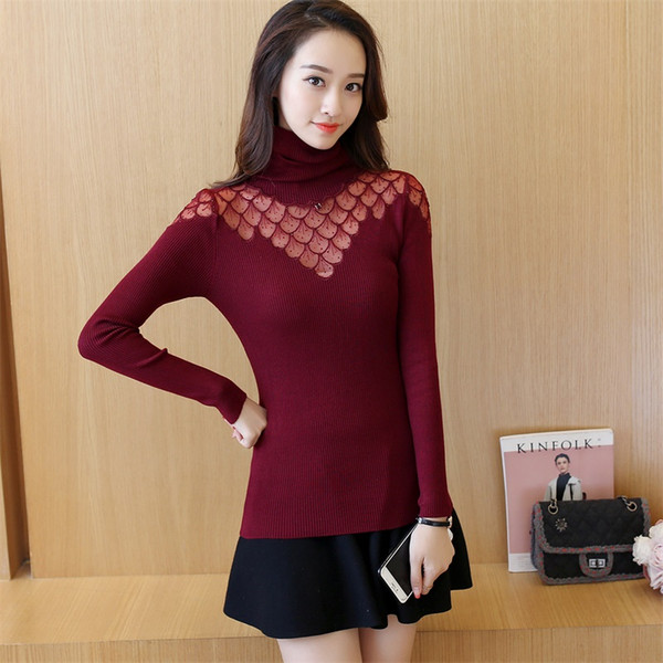 Knit Sweater Women 2018 New Fashion Turtleneck warm Embroidered Sexy Hollow lace Pullover Long Sleeve knitted Sweater top LF708